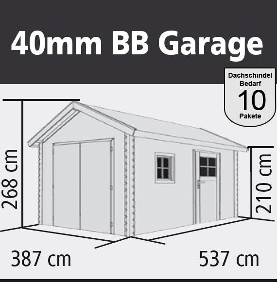 Garage mit Tor / Karibu Blockbohlenhaus 28mm natur 338x489cm Bild 2