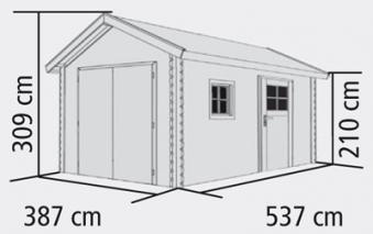 Garage mit Tor / Karibu Blockbohlenhaus 40mm natur 447x582cm Bild 2