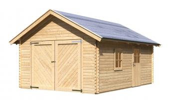 Garage mit Tor / Karibu Blockbohlenhaus 40mm natur 447x582cm Bild 3