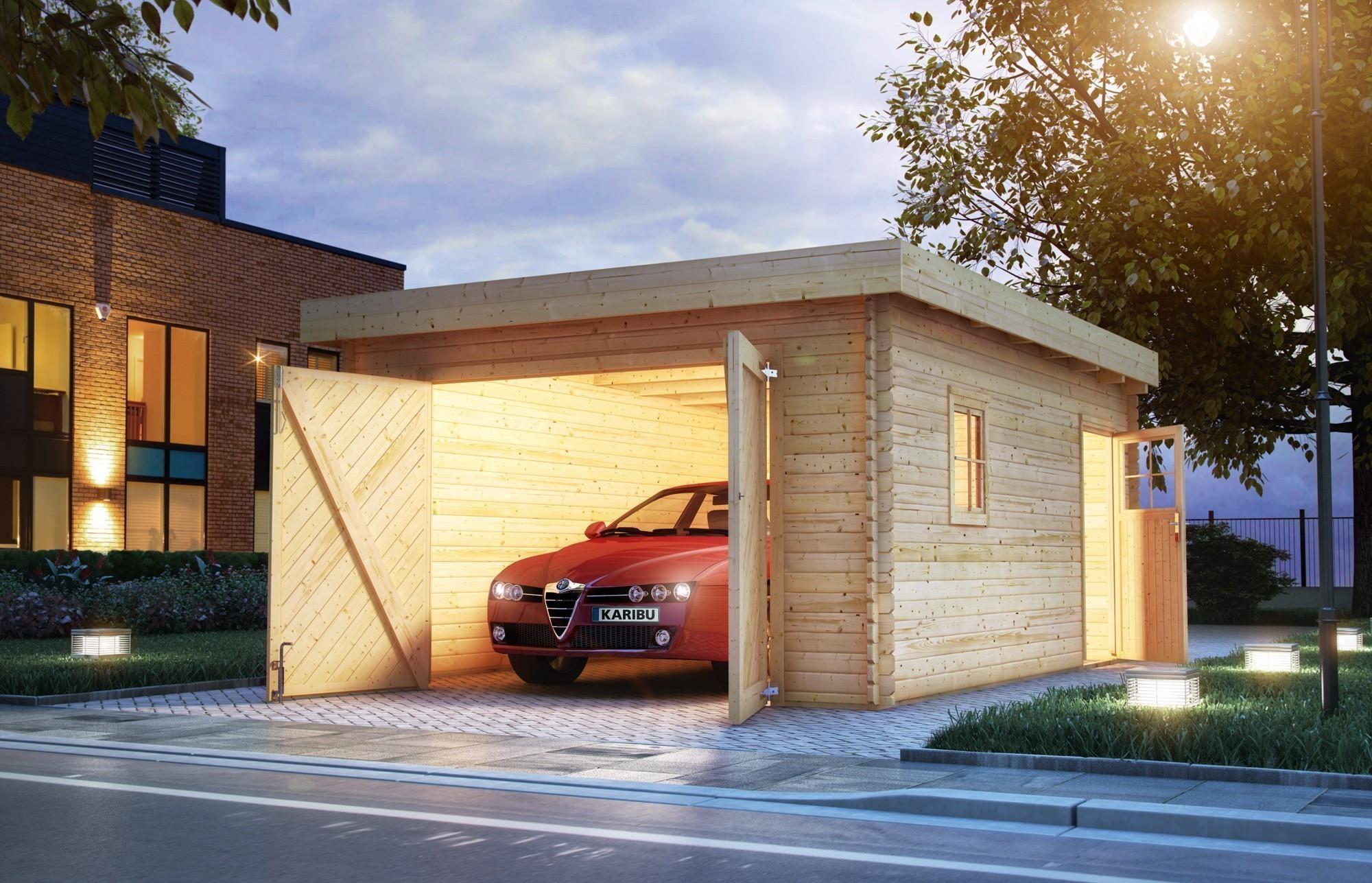 Garage mit Tor / Karibu Flachdachgarage 40mm natur 417x571cm Bild 2