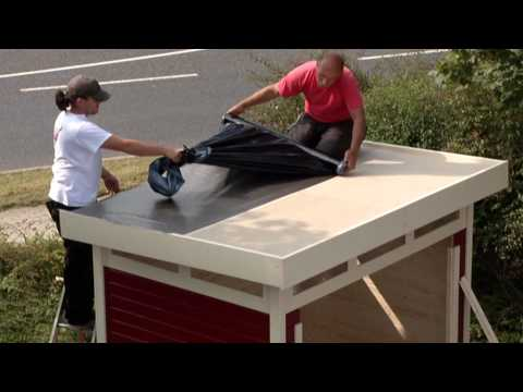 Garage mit Tor / Karibu Flachdachgarage 40mm natur 417x571cm Video Screenshot 577