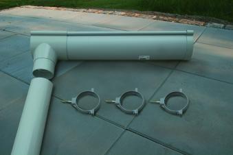 Dachrinne PVC grau halbrund für Karibu Anbau an Cubus Bild 1