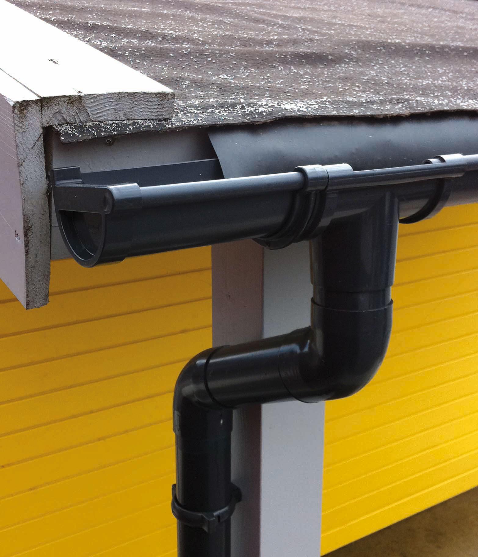 Dachrinne Set RG100 341Ax Spitzdach bis 3,5m Metall Halter rund anthr. Bild 1
