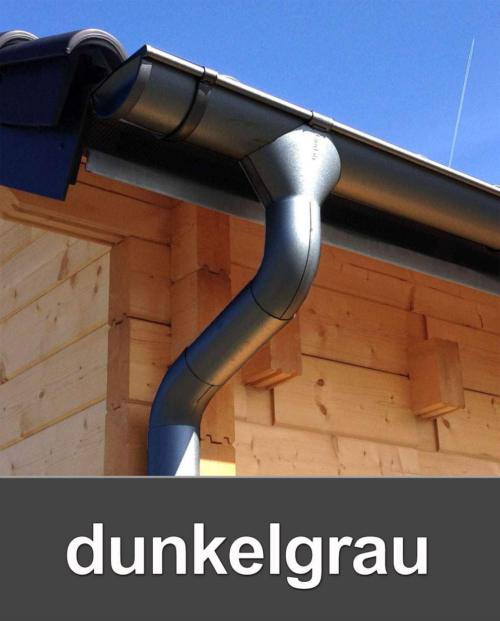 Dachrinnen Set Metall RG100 308MB Pultdach 8m Rinnenhalter Metall grau Bild 1