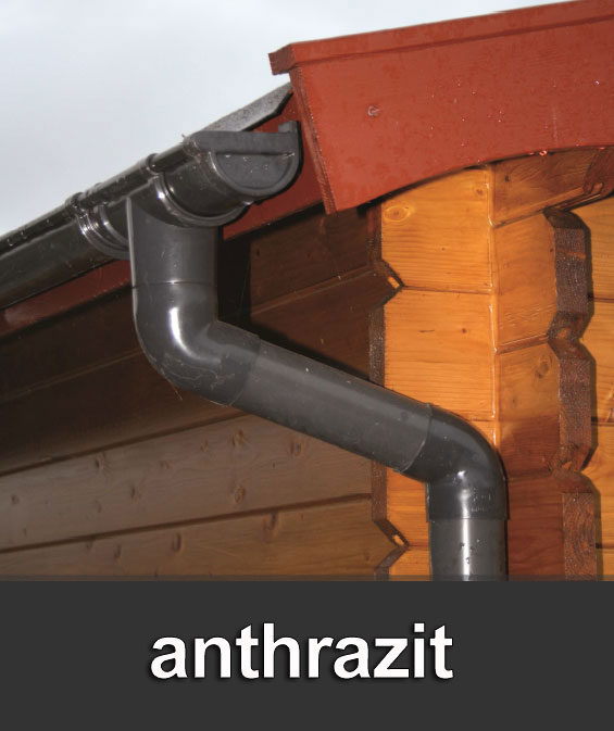 Dachrinnen Set RG100 344B Spitzdach 5+8m PVC Halter rund anthrazit Bild 1