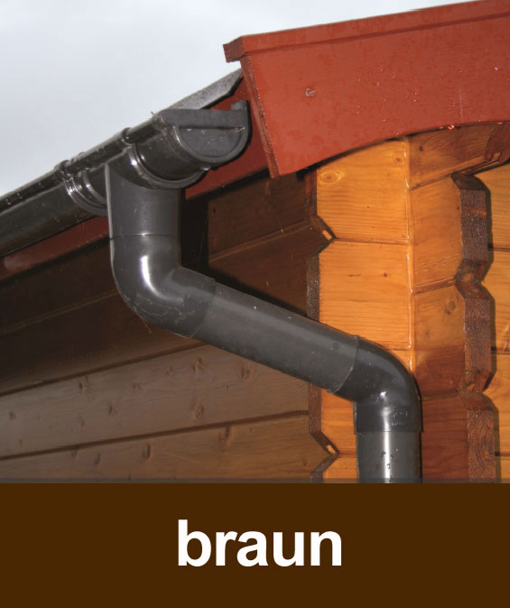 Dachrinnen Set RG100 346B Spitzdach 7m PVC Halter rund braun Bild 1