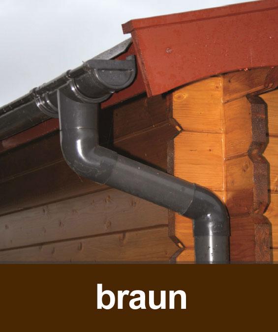 Dachrinnen Set RG100 347B Spitzdach 8m PVC Halter rund braun Bild 1