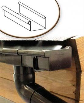 Dachrinnen Set RG70 199B Pultdach bis 2m PVC Halter Kasten braun Bild 1