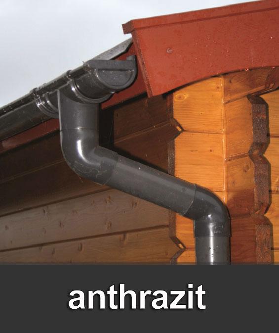 Dachrinnen Set RG80 403Ax Pultdach bis 5,5m Metall Halter rund anthra. Bild 1