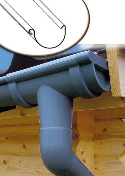 Dachrinnen Set RG80 419A Satteldach bis 2m Metall Halter rund anthraz. Bild 1