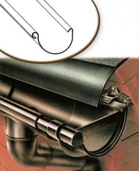 Dachrinnen Set RG80 440A Spitzdach bis 2,50m Metall Halter rund braun Bild 1