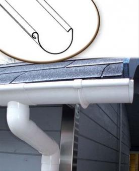 Dachrinnen Set RG80 440A Spitzdach bis 2,50m Metall Halter rund weiß Bild 1
