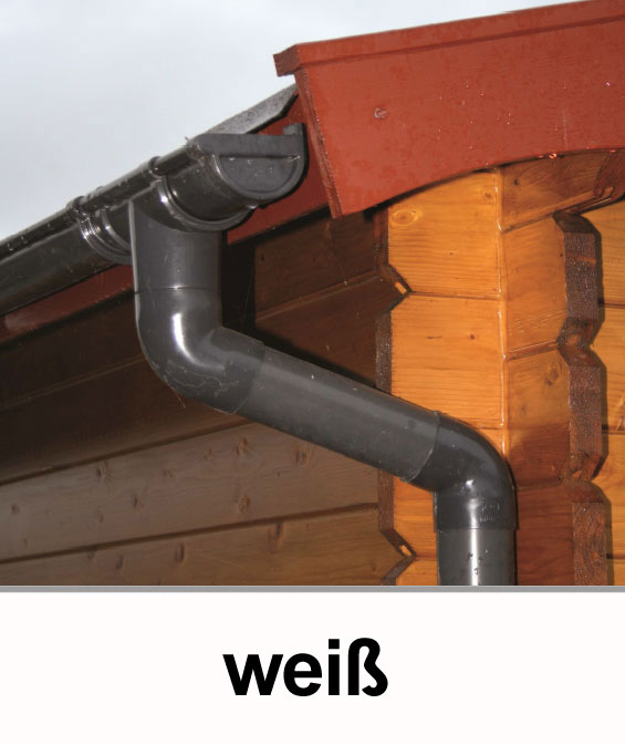 Dachrinnen Set RG80 443A Spitzdach bis 5m Metall Halter rund weiß Bild 1