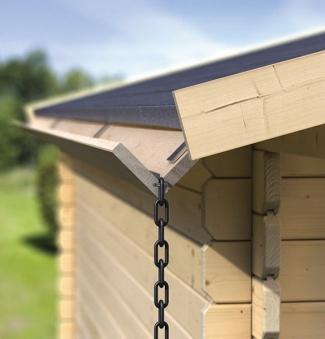 Holzdachrinne Verlängerung 2 m für Karibu Gartenhaus Satteldach kdi Bild 1