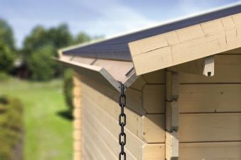Karibu Dachrinnen Set 4 Verlängerung für Flachdachhäuser Holz 2m Bild 1