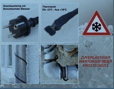 Heizkabel / Kabelheizung / Frostschutzkabel mit Thermostat 12m Bild 2