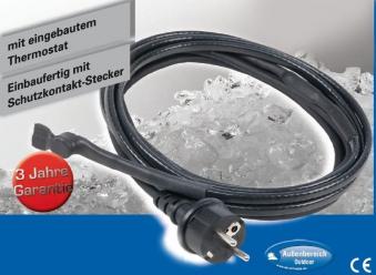 Heizkabel / Kabelheizung / Frostschutzkabel mit Thermostat 12m Bild 1