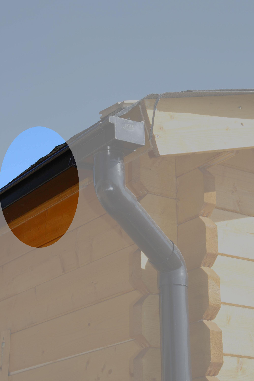 Dachrinnen Ergänzungsset K5A RG100 Anbauten bis 3m rund Metall braun Bild 1
