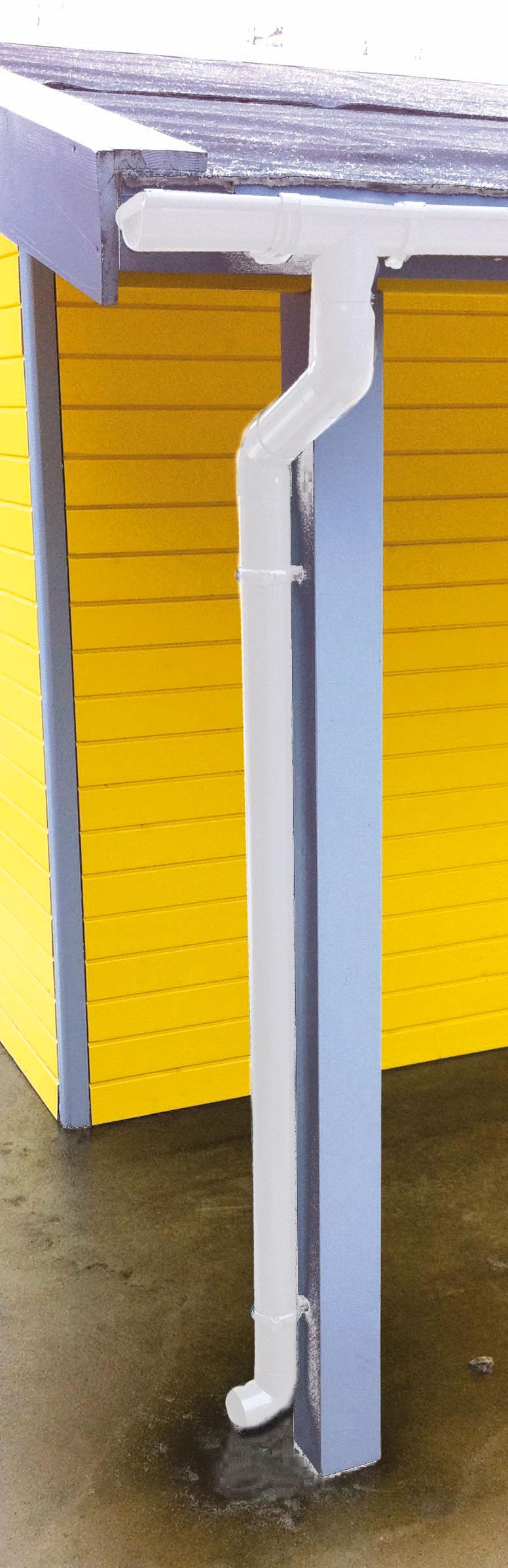 Dachrinnen Ergänzungsset RG80 410B Anbauten PVC Halter rund weiß Bild 1