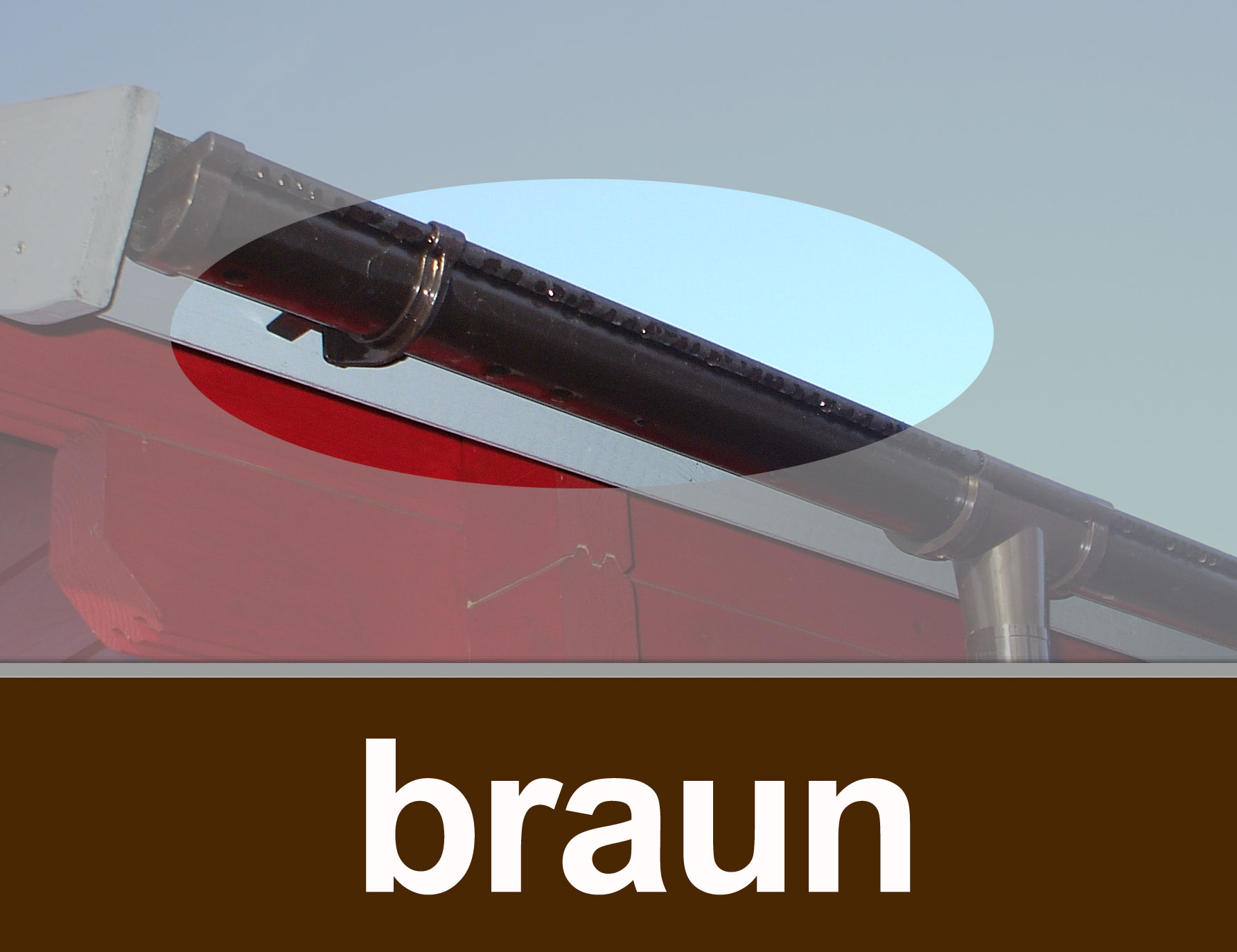 Dachrinnen Verlängerung RG80 K1A 2m Metall Halter rund braun Bild 1