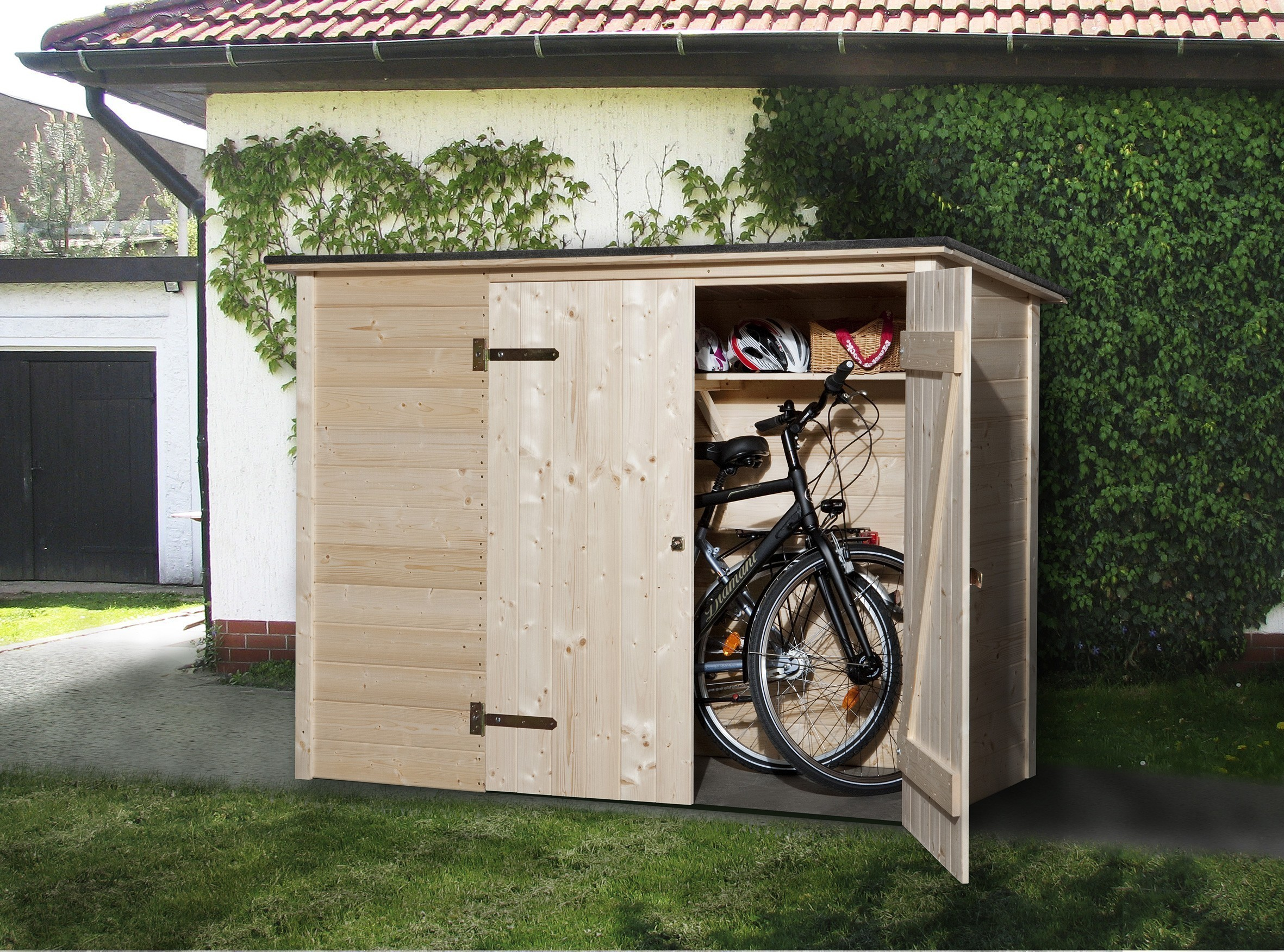weka fahrradbox m lltonnenbox 367 19mm 219x100cm bei. Black Bedroom Furniture Sets. Home Design Ideas