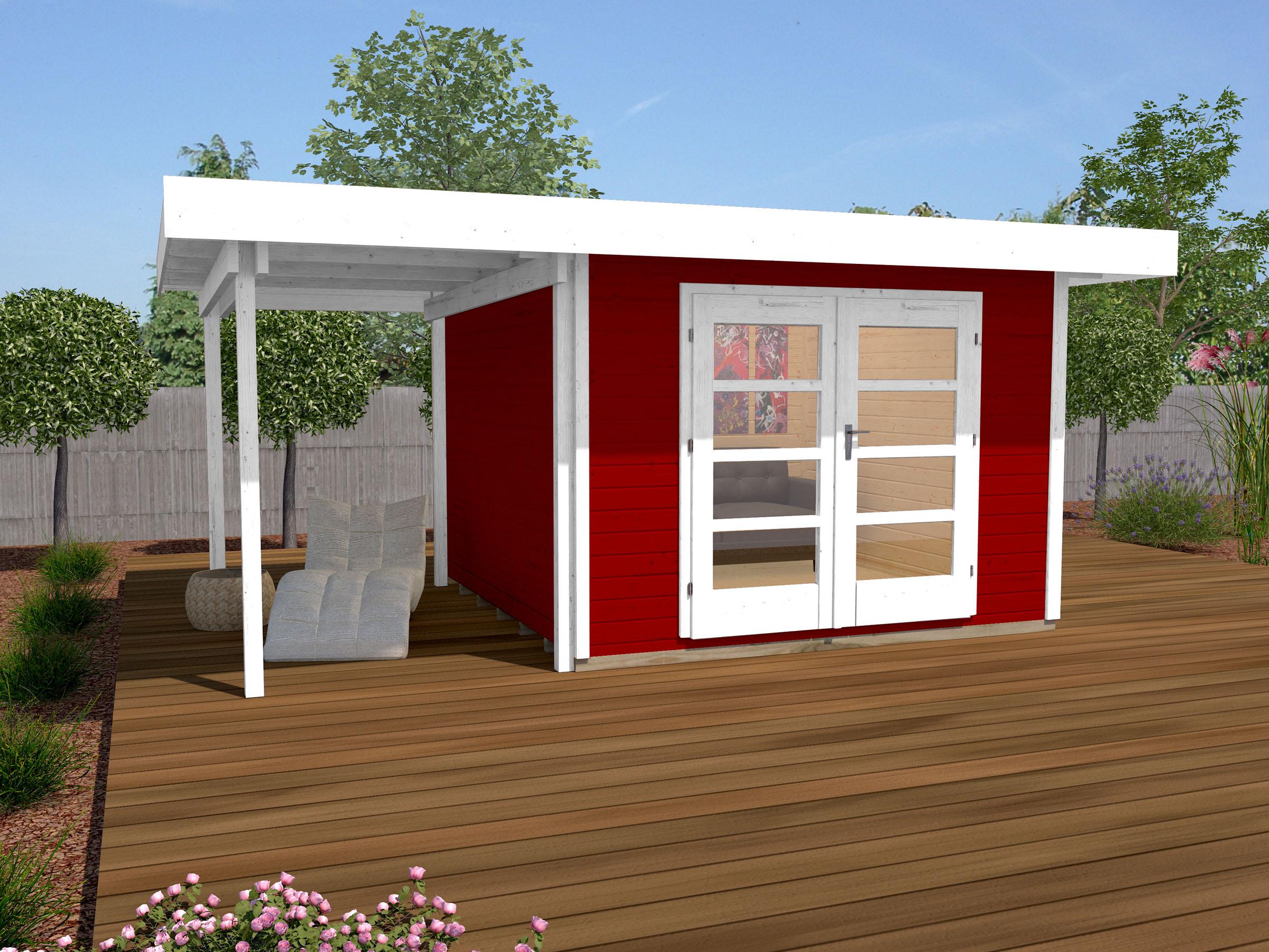 Gartenhaus 28 mm weka Designhaus 126 A Gr.1 rot 506x314cm Bild 1