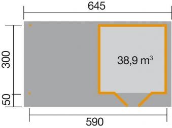 Gartenhaus 28 mm weka Designhaus 126 B Gr.2 grau 651x375cm Bild 2