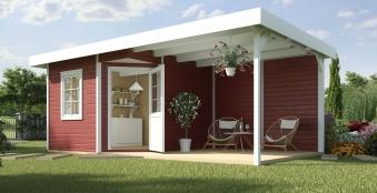 Gartenhaus 28 mm weka Designhaus 213 B+ Gr.1 rot 585x298cm Bild 1