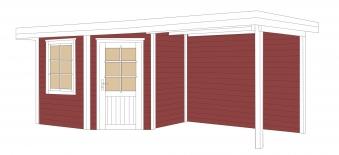 Gartenhaus 28 mm weka Designhaus 213 B+ Gr.1 rot 585x298cm Bild 2