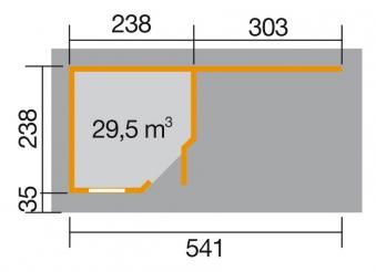 Gartenhaus 28 mm weka Designhaus 213 B+ Gr.1 rot 585x298cm Bild 3