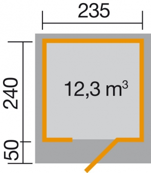 Gartenhaus 28mm weka Designhaus 172 Gr. 1 grau 280x311cm VD50 cm Bild 2