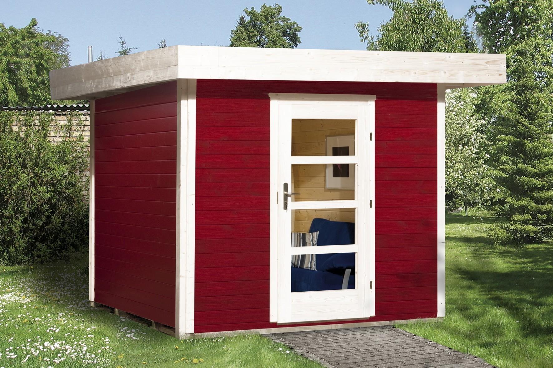Gartenhaus 28mm weka Designhaus 172 Gr. 1 rot 280x311cm VD 50cm Bild 1