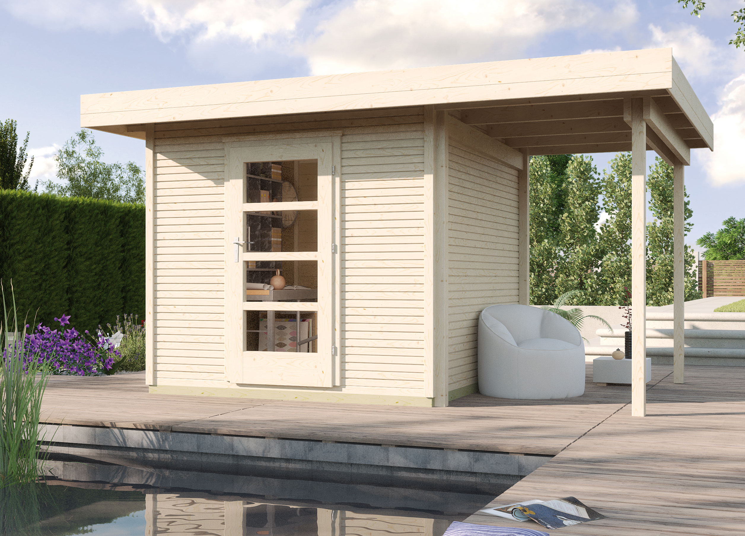 gartenhaus 28mm weka designhaus wekaline 172a gr 2 natur. Black Bedroom Furniture Sets. Home Design Ideas
