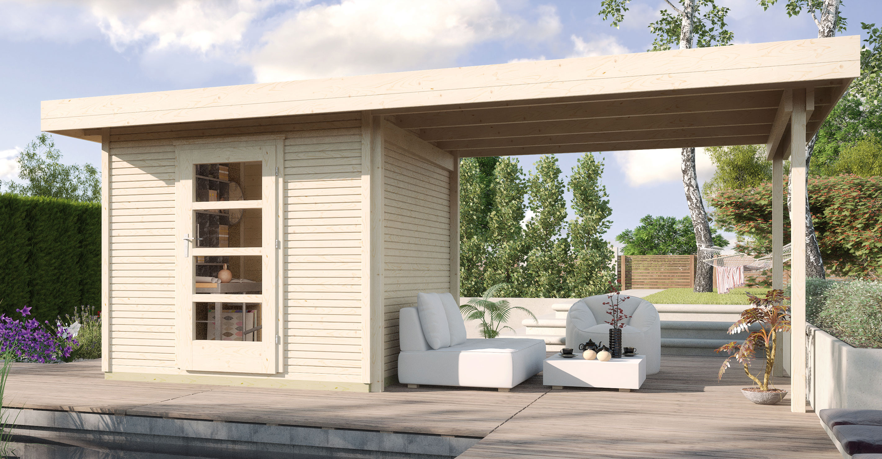 gartenhaus 28mm weka designhaus wekaline 172b gr 2 natur 569x316cm bei. Black Bedroom Furniture Sets. Home Design Ideas