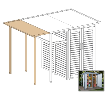 Erweiterung Family für WEKA Gerätehaus GartenQ grau/weiß 200x73cm