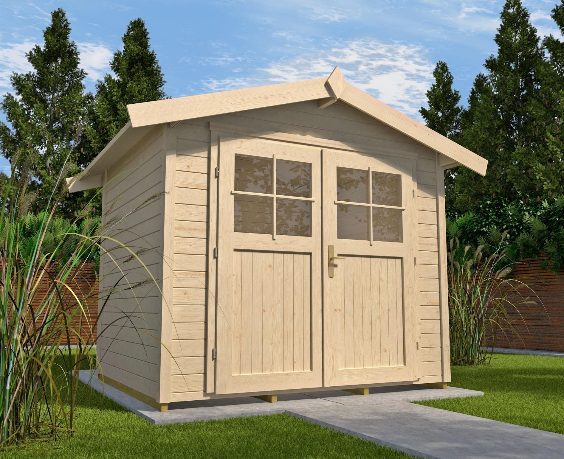 gerätehaus holz 28 mm weka gartenhaus 122 gr.3 natur 380x244cm - bei