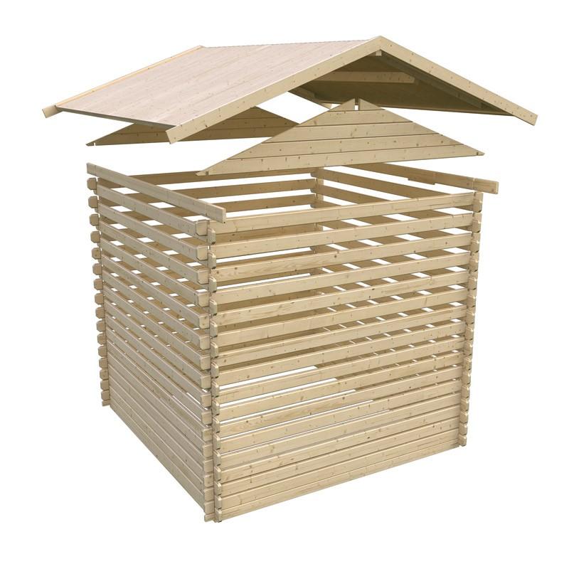karibu blockbohlenhaus 40 mm doderic 3 natur 481x339cm sparset bei. Black Bedroom Furniture Sets. Home Design Ideas