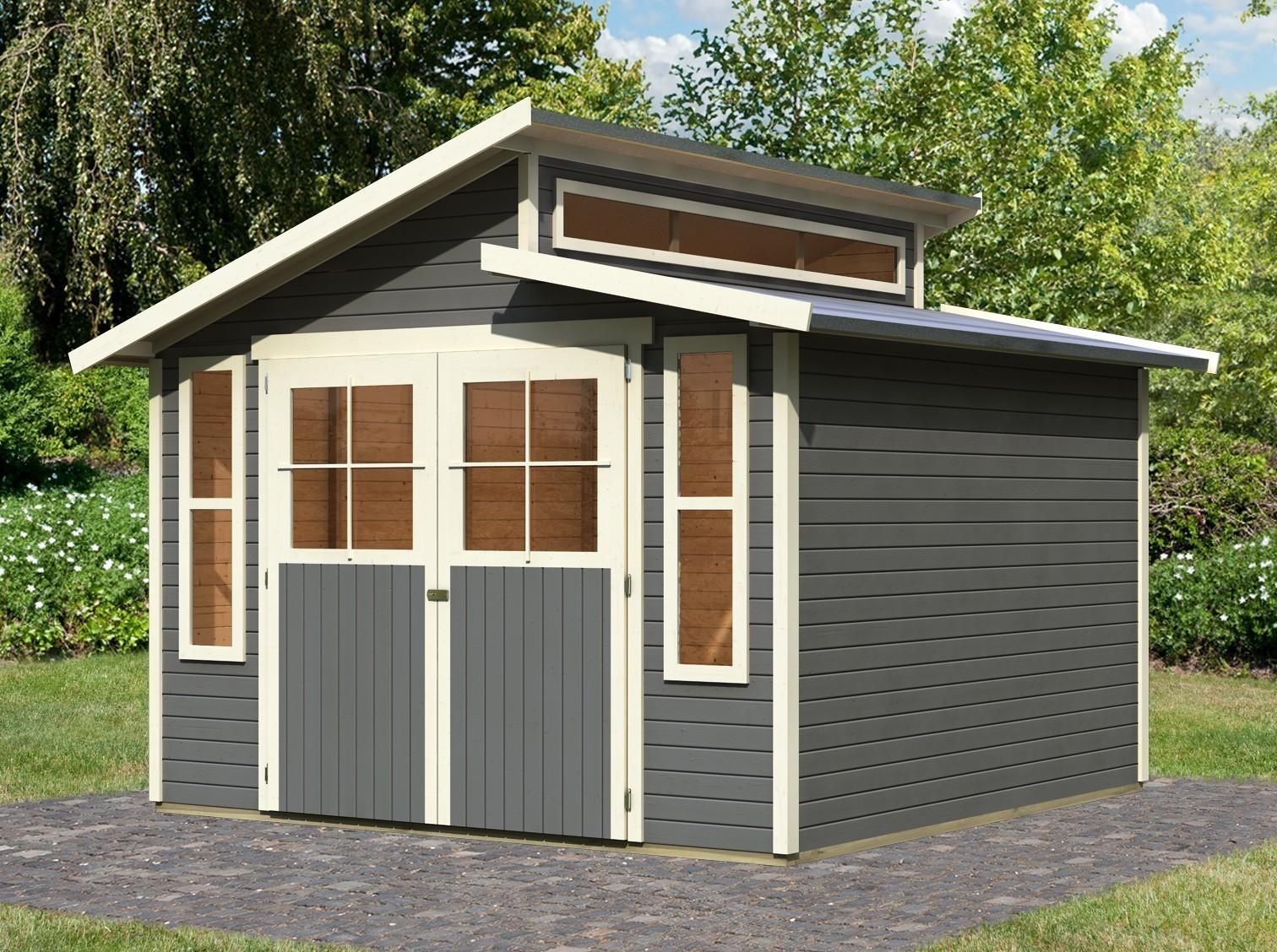 karibu gartenhaus 19 mm grafenau 7 grau 339x354cm bei. Black Bedroom Furniture Sets. Home Design Ideas