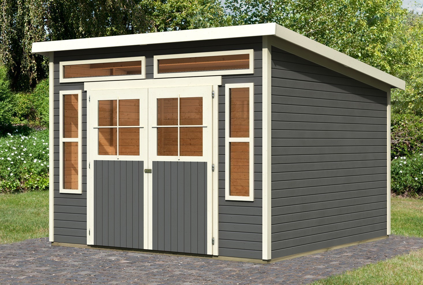 karibu gartenhaus 19 mm tinkenau 8 terragrau 334x331cm bei. Black Bedroom Furniture Sets. Home Design Ideas