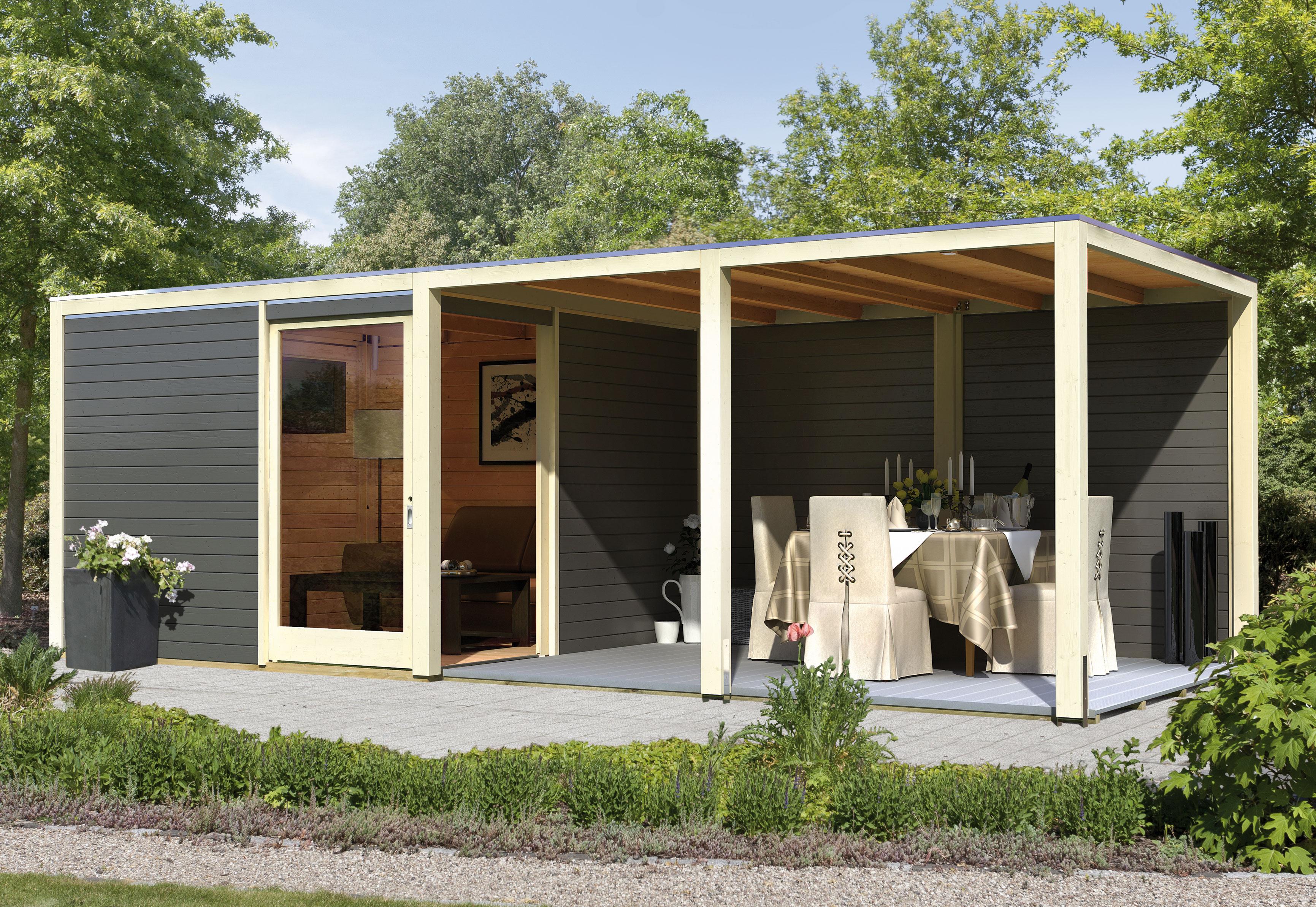 karibu gartenhaus 28 mm cubus eck 320x320cm terragrau + epdm - bei, Gartengerate ideen