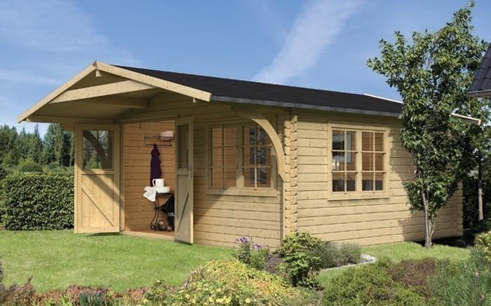 karibu gartenhaus 28 mm hardenberg 1 natur 407x358 bei. Black Bedroom Furniture Sets. Home Design Ideas