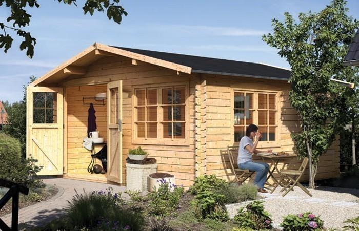 karibu gartenhaus 28 mm hardenberg 2 natur 445x478cm bei. Black Bedroom Furniture Sets. Home Design Ideas