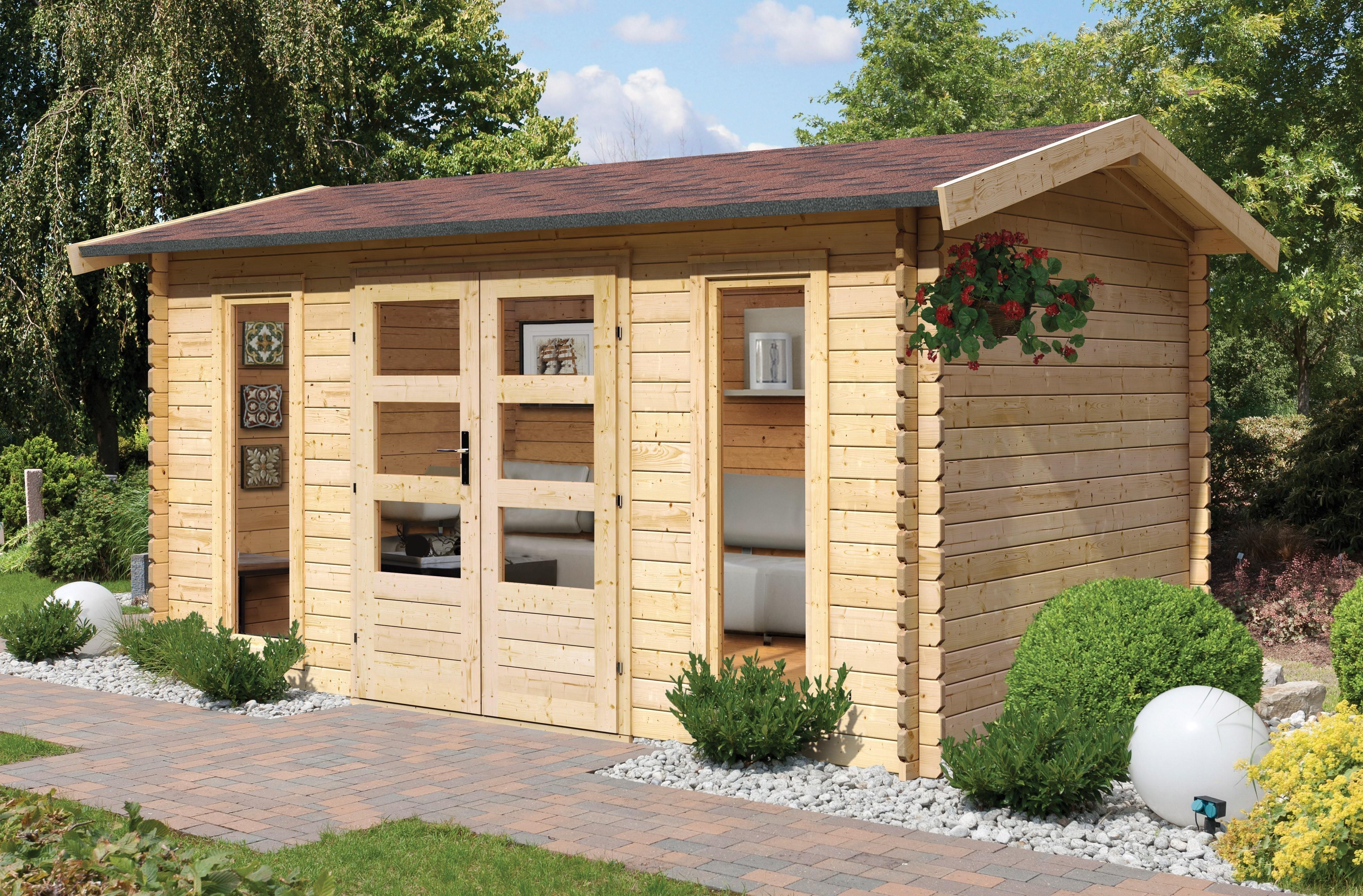 karibu gartenhaus 28 mm karibu hasselberg 457x260cm natur. Black Bedroom Furniture Sets. Home Design Ideas