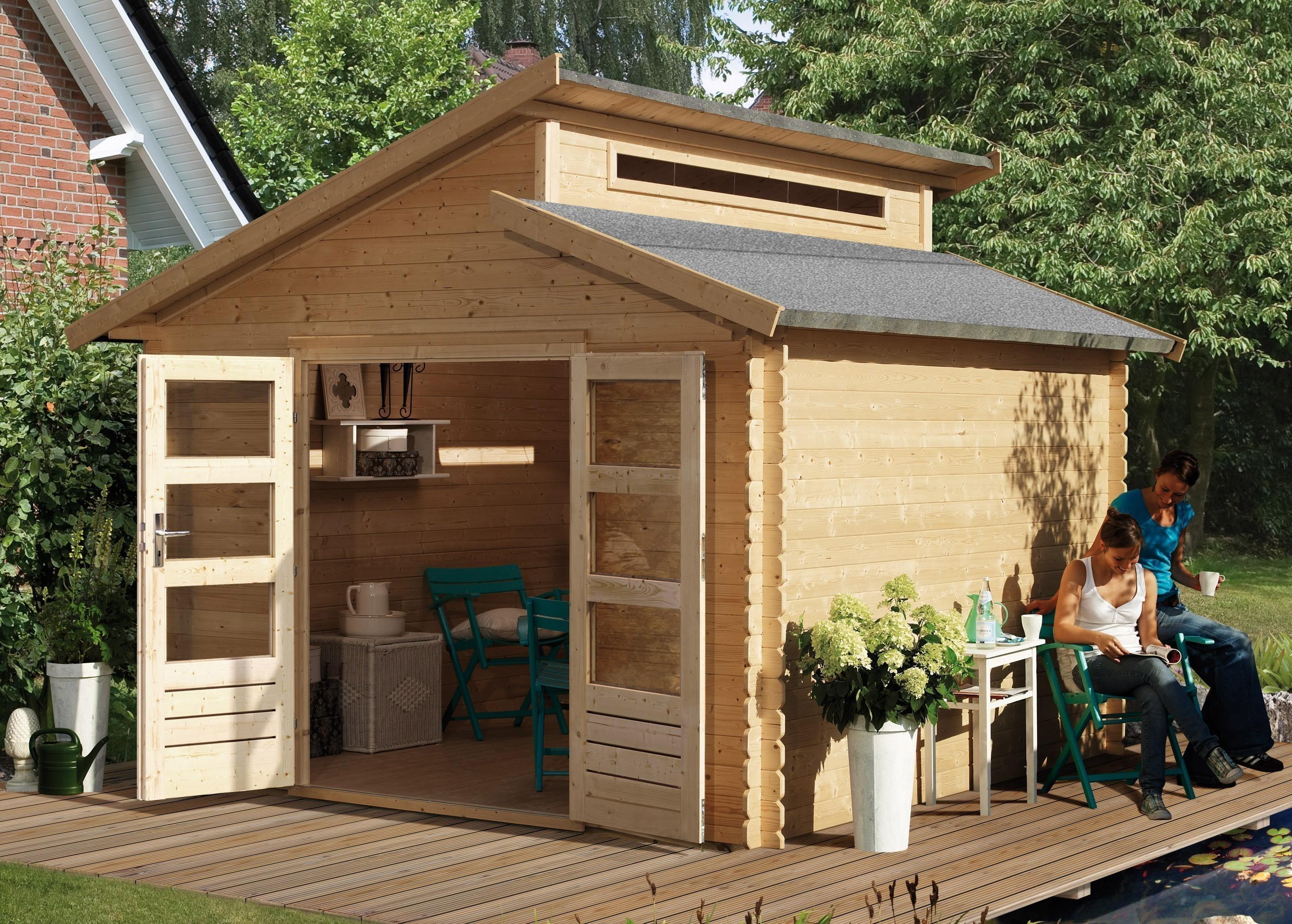 karibu gartenhaus 28 mm v rmland 1 natur 360x369 bei. Black Bedroom Furniture Sets. Home Design Ideas