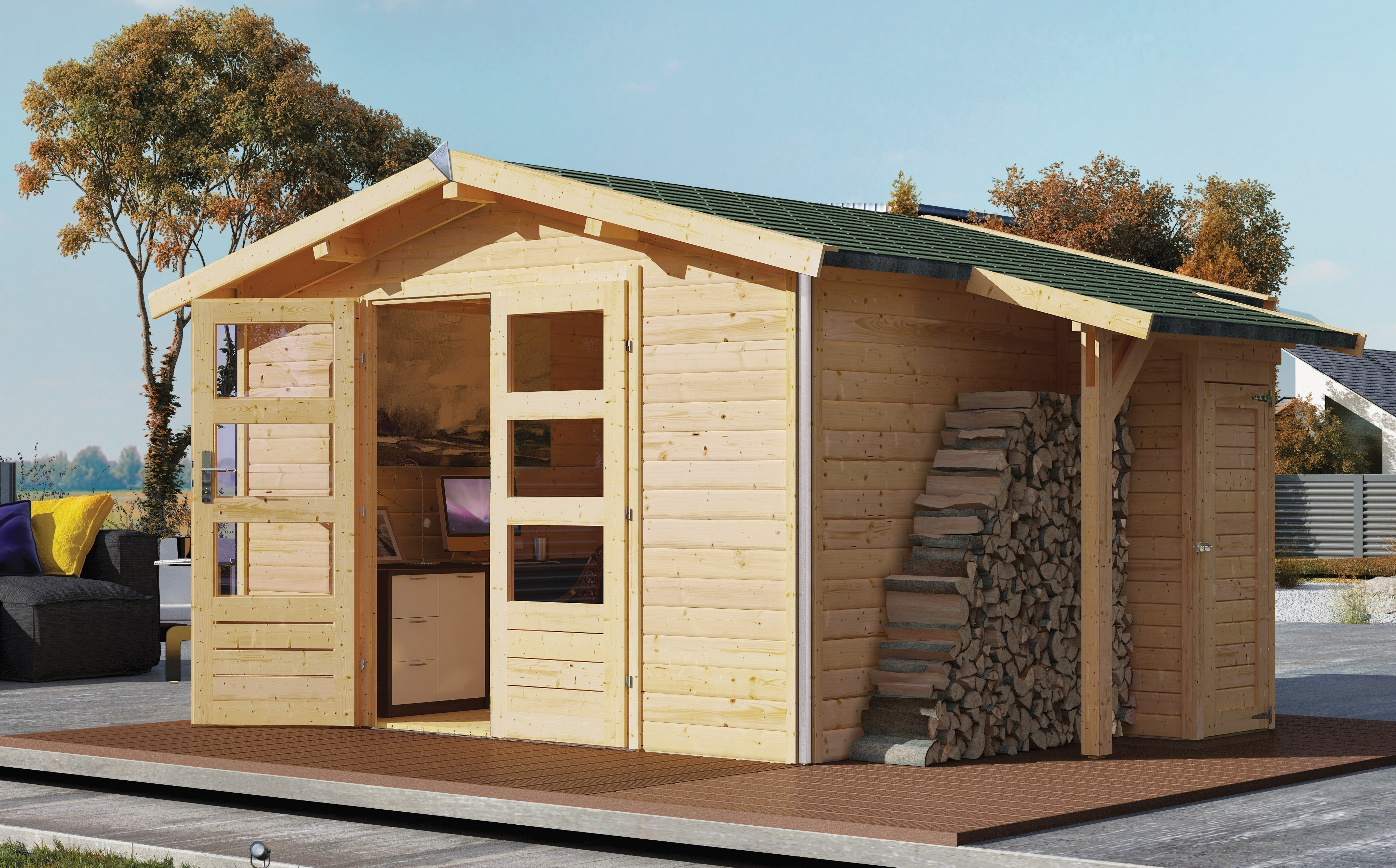 karibu gartenhaus 40mm angelburg 3 grau 347x343cm bei. Black Bedroom Furniture Sets. Home Design Ideas