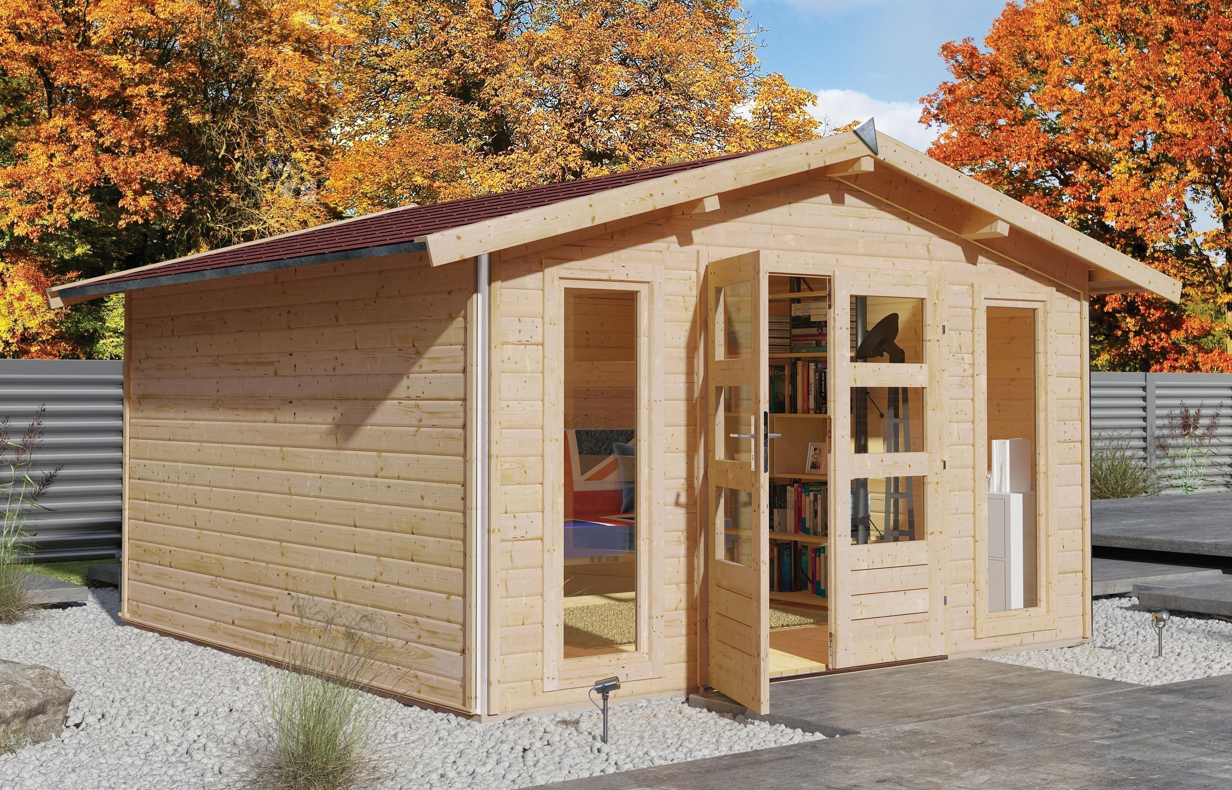 karibu gartenhaus 40mm bensburg 1 grau 434x343cm bei. Black Bedroom Furniture Sets. Home Design Ideas