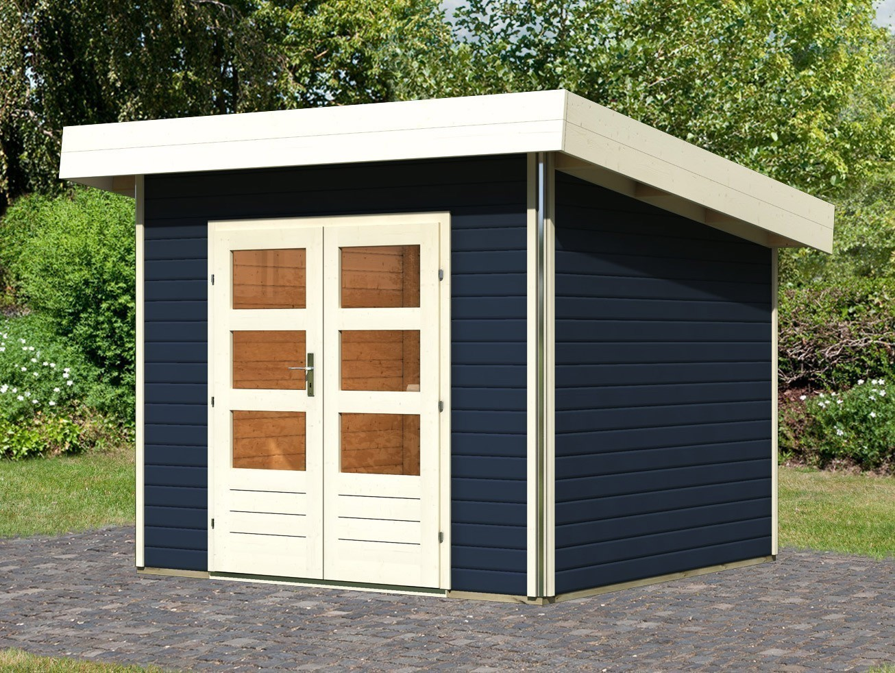 karibu gartenhaus 40mm moosburg 1 grau 318x294cm bei. Black Bedroom Furniture Sets. Home Design Ideas
