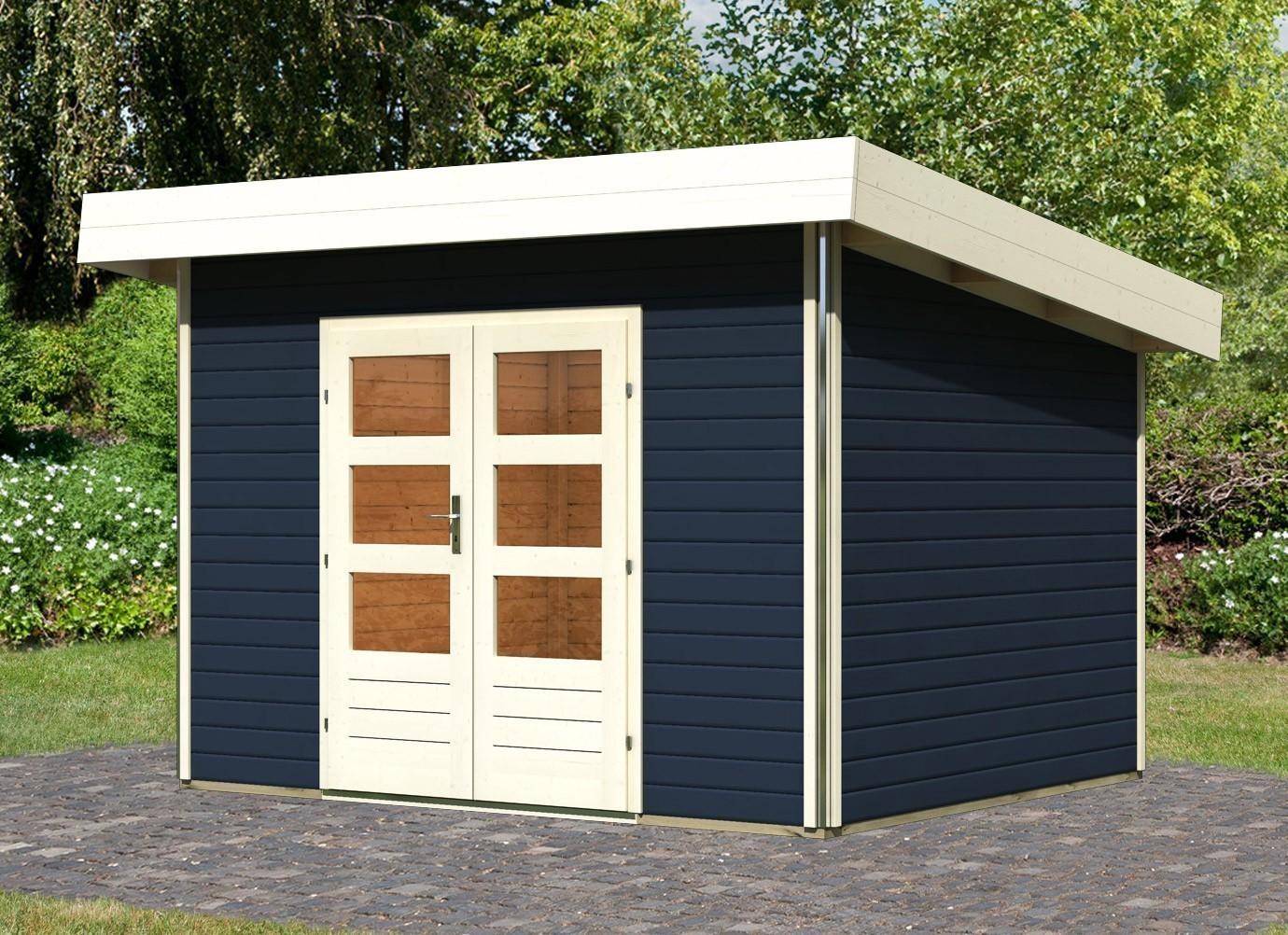 karibu gartenhaus 40mm moosburg 2 grau 358x299cm bei. Black Bedroom Furniture Sets. Home Design Ideas