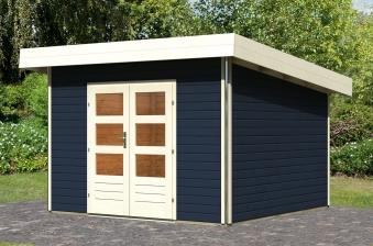 karibu gartenhaus 40mm moosburg 3 grau 358x360cm bei. Black Bedroom Furniture Sets. Home Design Ideas