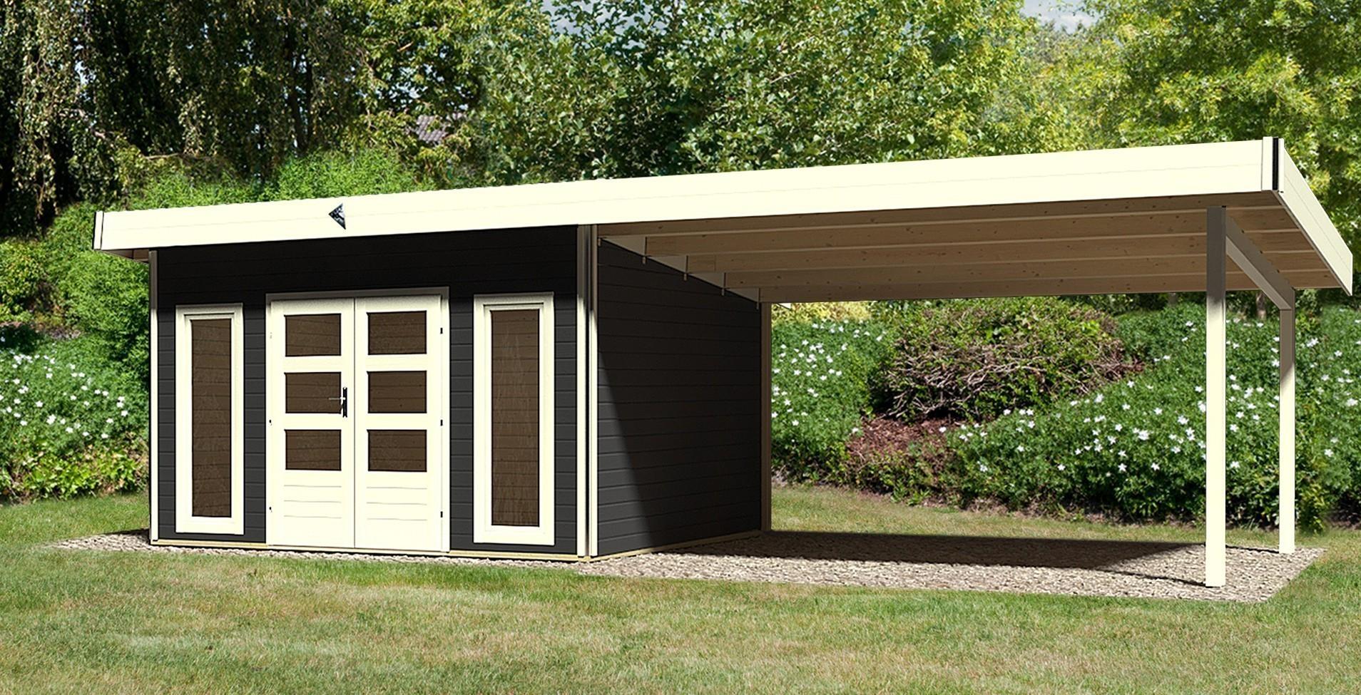 karibu gartenhaus 40mm tecklenburg 1 modern grau anbau 400 824x360cm